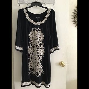 INC plus size 2X black and beige embroidered dress